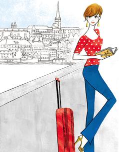 ヨーロッパを旅するスーツケースを持った女性のイラスト素材 [FYI01671126]