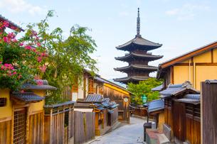 早朝の八坂通り・石畳の道と法観禅寺・八坂の塔の写真素材 [FYI01671364]