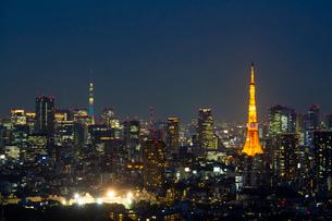 東京スカイツリーライトアップ(粋)と東京タワーの夜景の写真素材 [FYI01671422]