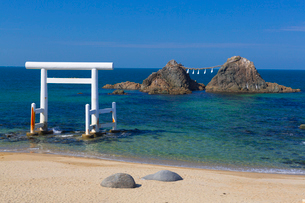 桜井二見ヶ浦の鳥居と夫婦岩の写真素材 [FYI01671570]