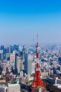 東京タワーと東京スカイツリーの空撮 縦位置の写真素材 [FYI01671593]