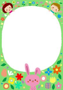 花畑のこどもたちとウサギのフレームのイラスト素材 [FYI01671804]
