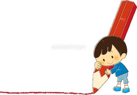 大きなエンピツで線を引く男の子のイラスト素材 [FYI01671872]