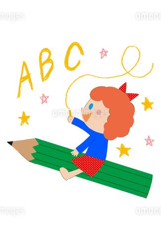 鉛筆に乗った女の子とABCのイラスト素材 [FYI01671945]