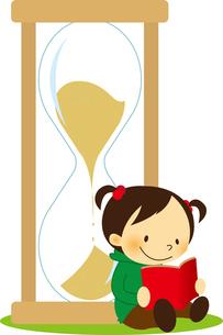 砂時計によりかかって本を読む女の子のイラスト素材 [FYI01672077]