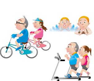 中高年の健康 サイクリング 水泳 スポーツジムのイラスト素材 [FYI01672222]