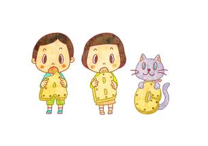 ABCのビスケットを持った男の子と女の子とネコのイラスト素材 [FYI01672223]
