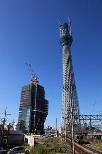 踏み切り近くの撮影広場より望む東京スカイツリーの写真素材 [FYI01672542]