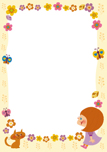 お花と女の子のフレームのイラスト素材 [FYI01673135]