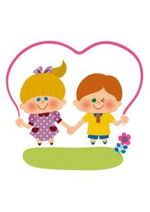 なわとびをする女の子と男の子のイラスト素材 [FYI01673162]