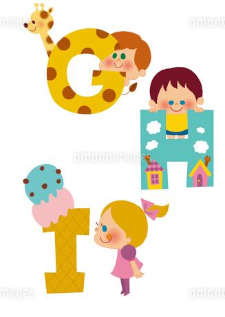アルファベットGHIと子供たちのイラスト素材 [FYI01673166]
