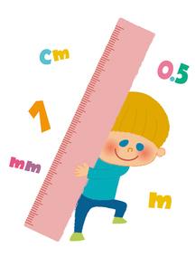 大きなものさしを持つ男の子のイラスト素材 [FYI01673223]