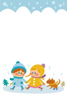 スケートをする子供たちのフレームのイラスト素材 [FYI01673228]