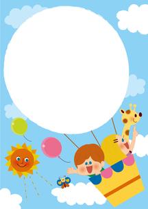 気球に乗って フレームのイラスト素材 [FYI01673272]
