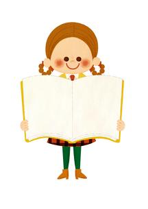 本と女の子のイラスト素材 [FYI01673286]