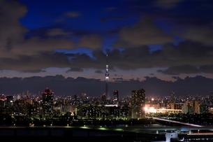 船堀より望む白色にライトアップした東京スカイツリーの写真素材 [FYI01673301]