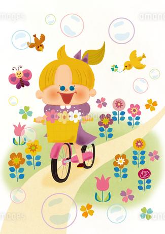 春のサイクリングのイラスト素材 [FYI01673315]