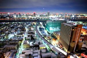 雪景色と東京スカイツリー方面(箱庭風)の写真素材 [FYI01673348]