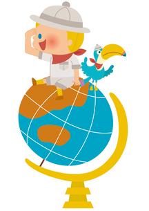 地球儀に乗る探検家の男の子のイラスト素材 [FYI01673352]