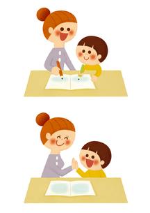 お母さんとお勉強のイラスト素材 [FYI01673376]
