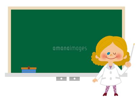 黒板と先生のフレームイラストのイラスト素材 [FYI01673400]