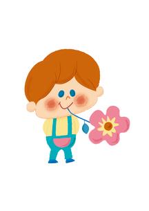 お花とおとこのこのイラスト素材 [FYI01673404]