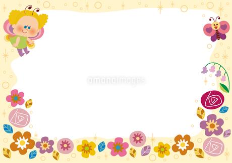 花とちょうちょのフレームのイラスト素材 [FYI01673472]