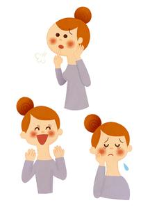 お母さん 表情3カットのイラスト素材 [FYI01673478]
