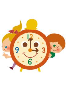 時計と女の子と男の子のイラスト素材 [FYI01673588]