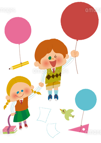 風船を持つ子どものイラスト素材 [FYI01673873]