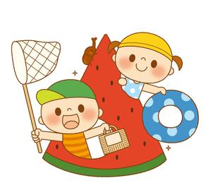 夏休みを楽しむ子どもたちのイラスト素材 [FYI01676211]