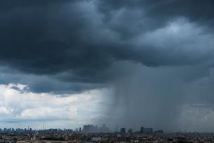 ゲリラ豪雨を浴びる新宿高層ビル群(横)の写真素材 [FYI01678769]