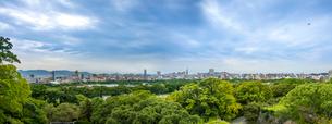 福岡城跡(大天守台跡からの眺め・大濠公園)パノラマの写真素材 [FYI01680477]