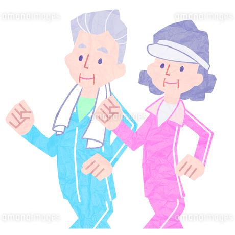 ウォーキングをしている老夫婦のイラスト素材 [FYI01682842]
