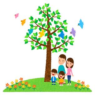 小鳥が舞う木の下に立つ二世代家族のイラスト素材 [FYI01682861]
