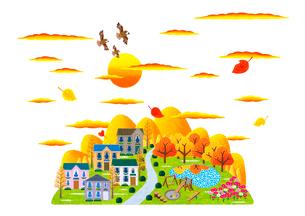 秋の夕暮れとコスモスの咲く公園のある街のイラスト素材 [FYI01682868]