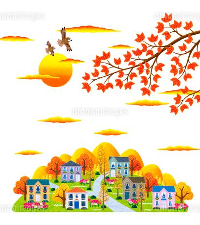 秋の夕暮れとコスモスの咲く街並のイラスト素材 [FYI01682893]