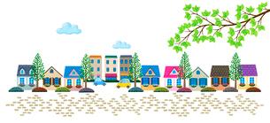 石畳の住宅街のイラスト素材 [FYI01682895]