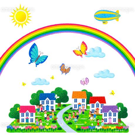 蝶が舞い虹の架かる人々が集う街のイラスト素材 [FYI01682898]