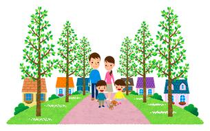 並木の遊歩道がある住宅街を散歩する家族のイラスト素材 [FYI01682960]