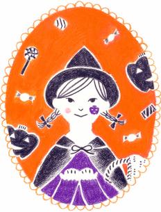 カレンダー 10月 ハロウィンの女の子のイラスト素材 [FYI01682970]
