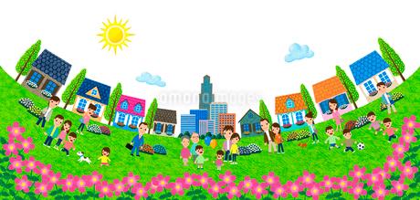 大きな公園のある住宅街のイラスト素材 [FYI01682971]