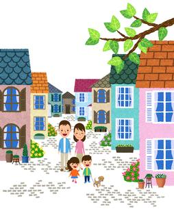 住宅街の歩道を散歩する家族のイラスト素材 [FYI01682975]