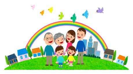 小鳥達が飛ぶ虹の架かる住宅街と三世代家族のイラスト素材 [FYI01683002]