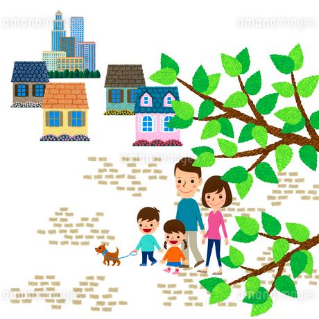 小枝越しに見える散歩する家族のイラスト素材 [FYI01683010]