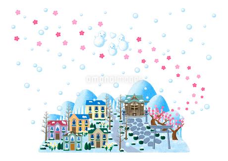 梅が咲く神社のある雪の街のイラスト素材 [FYI01683038]