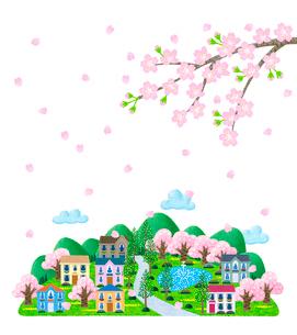 桜の舞う街並のイラスト素材 [FYI01683062]