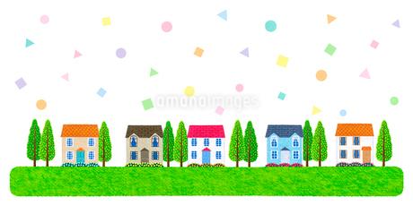 住宅と幾何学模様のイラスト素材 [FYI01683087]