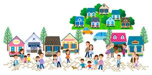 石畳の商店街のある住宅街と人々のイラスト素材 [FYI01683094]