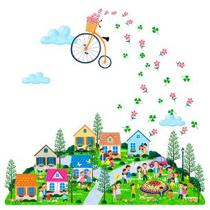 空に浮く自転車と街の人々のイラスト素材 [FYI01683110]